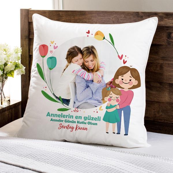 Annelerin En Güzeli Fotoğraflı Yastık