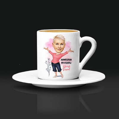 - Annelerin En Güzeli Karikatürlü Kahve Fincanı