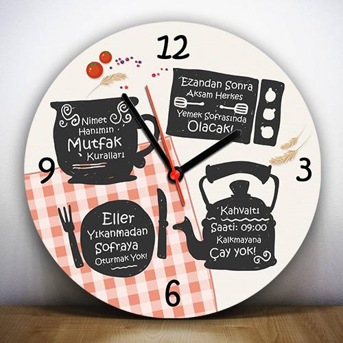 Annemin Mutfak Kuralları Duvar Saati