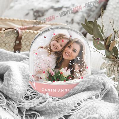 Anneye Hediye Fotoğraflı Kar Küresi - Thumbnail