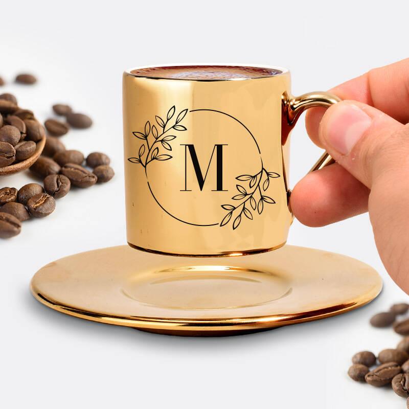 Anneye Hediye Harfli Gold Kahve Fincanı