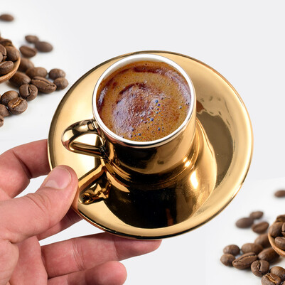 Anneye Hediye Harfli Gold Kahve Fincanı - Thumbnail
