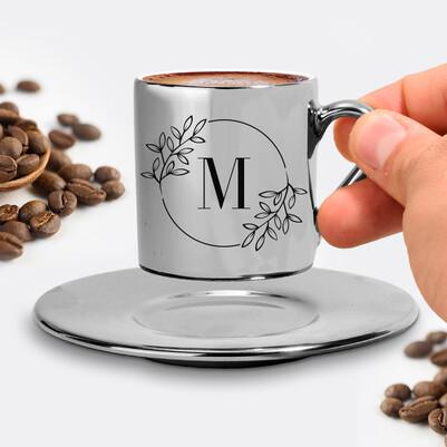 Anneye Hediye Harfli Silver Kahve Fincanı - Thumbnail