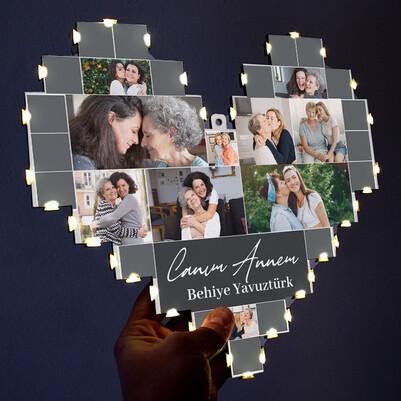 Anneye Hediye Işıklı Kalp Pano - Thumbnail
