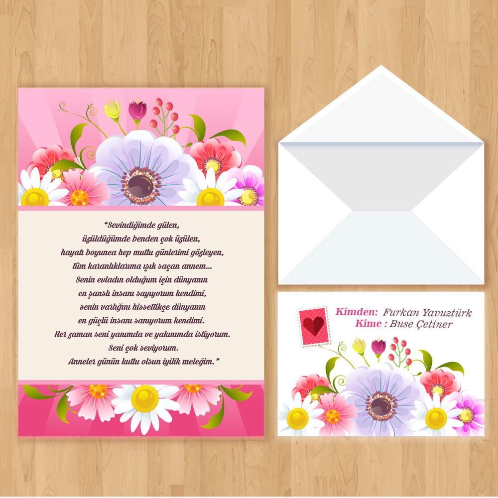 Anneye Mektup Çiçek Temalı
