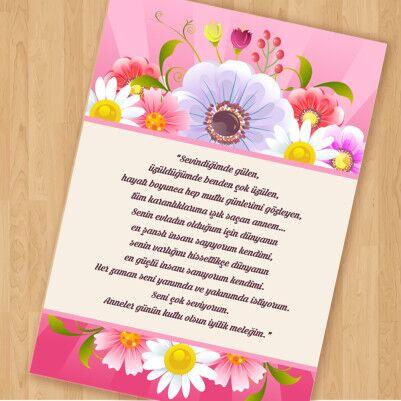 Anneye Mektup Çiçek Temalı - Thumbnail