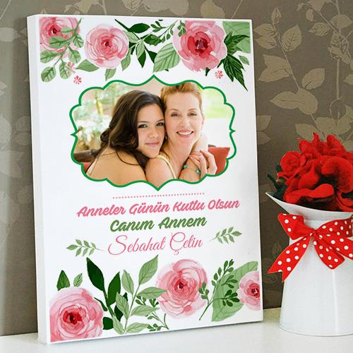 Anneye Özel Çiçekli Kanvas Tablo