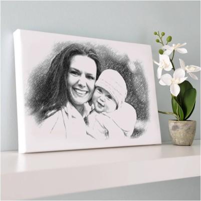 Anneye Özel Karakalem Kanvas Tablo - Thumbnail