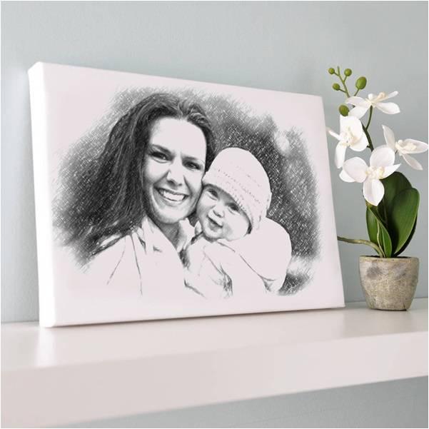 Anneye Özel Karakalem Kanvas Tablo