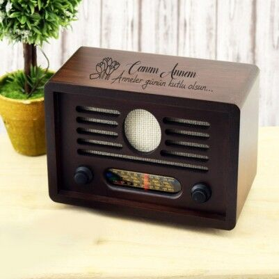 - Anneye Özel Nostaljik Ahşap Radyo