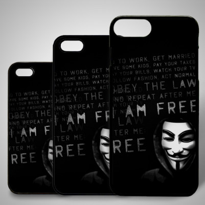 - Anonymous Baskılı iPhone Telefon Kapağı