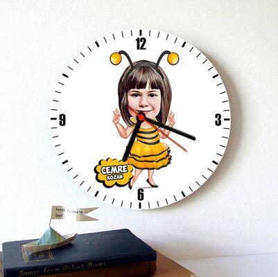 - Arı Kostümlü Kız Karikatürlü Duvar Saati