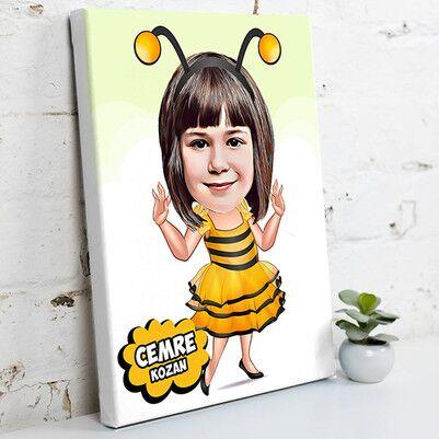 - Arı Kostümlü Kız Karikatürlü Kanvas Tablo