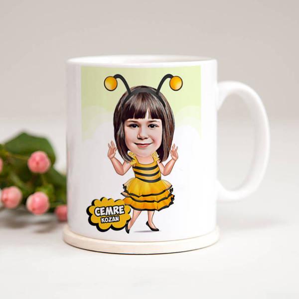 Arı Kostümlü Kız Karikatürlü Kupa Bardak