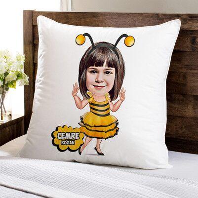 - Arı Kostümlü Kız Karikatürlü Yastık