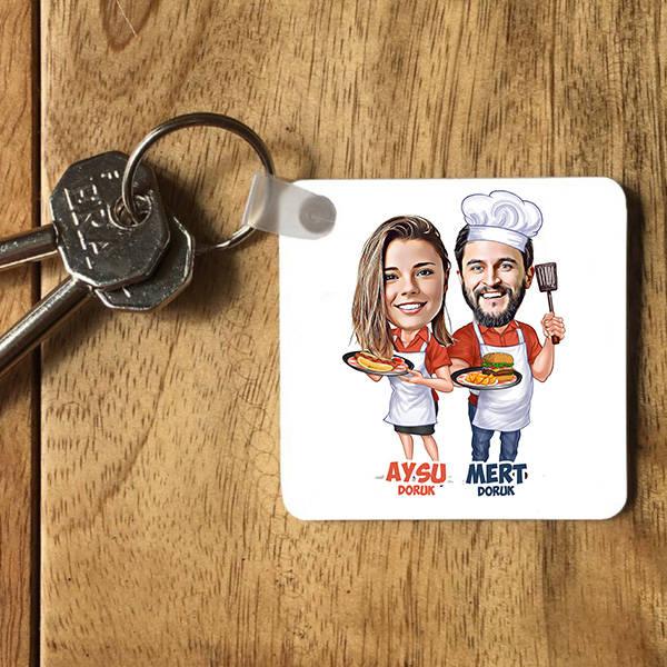 Aşçı Sevgililer Karikatürlü Anahtarlık