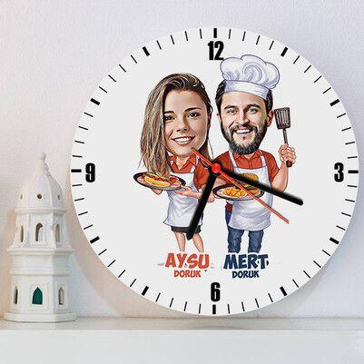 - Aşçı Sevgililer Karikatürlü Duvar Saati