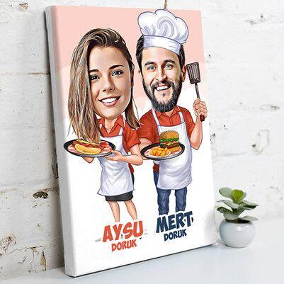 - Aşçı Sevgililer Karikatürlü Kanvas Tablo