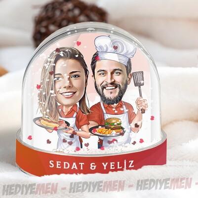 - Aşçı Sevgililer Karikatürlü Kar Küresi