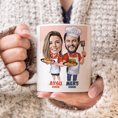 - Aşçı Sevgililer Karikatürlü Kupa Bardak