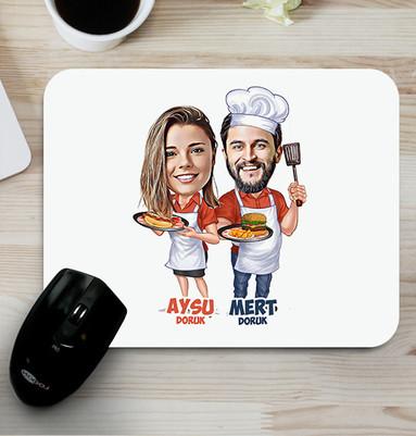 - Aşçı Sevgililer Karikatürlü Mouse Pad