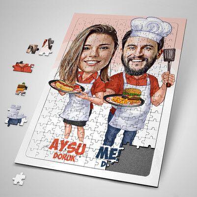 - Aşçı Sevgililer Karikatürlü Puzzle