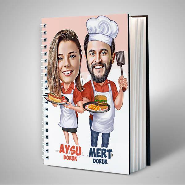 Aşçı Sevgililer Karikatürlü Sevgili Defteri
