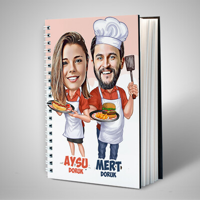 Aşçı Sevgililer Karikatürlü Sevgili Defteri - Thumbnail