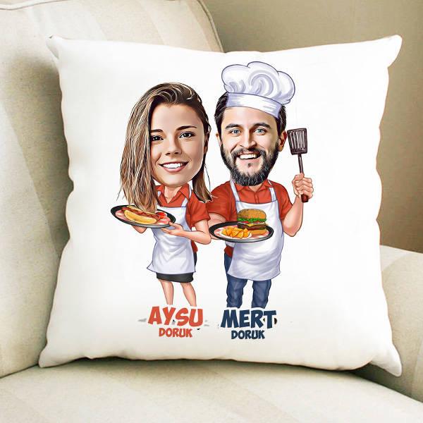 Aşçı Sevgililer Karikatürlü Yastık