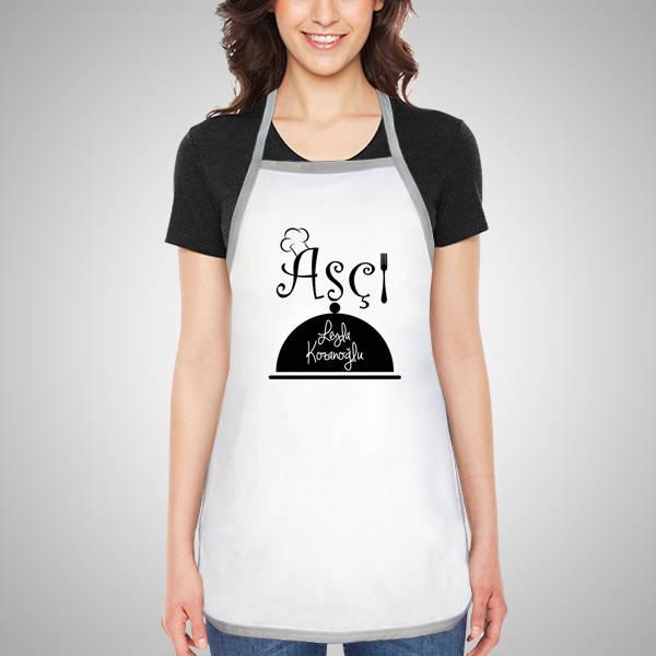 Aşçılara Özel İsim Yazılı Mutfak Önlüğü