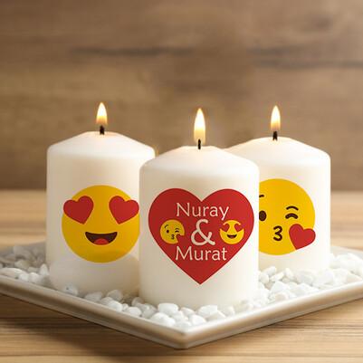 - Aşık Emoji Tasarımlı 3'lü Mum Seti