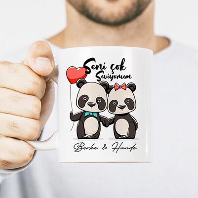 - Aşıklara Özel Panda Kupa Bardak