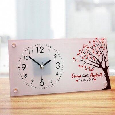 Aşk Ağacımız Sevgililere Özel Cam Masa Saati - Thumbnail