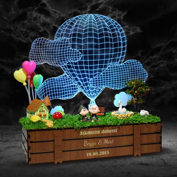 Aşk Bahçesi 3D Lamba Minyatür Bahçe