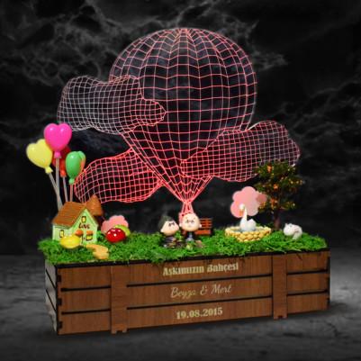 Aşk Bahçesi 3D Lamba Minyatür Bahçe - Thumbnail