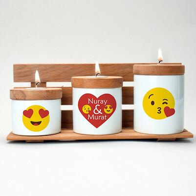 - Aşk Emojileri İsimli Ahşap Mumluk Seti