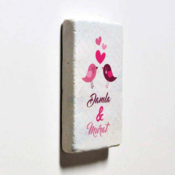 Aşk Kuşları İsimli Taş Buzdolabı Magneti