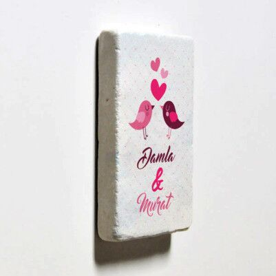 Aşk Kuşları İsimli Taş Buzdolabı Magneti - Thumbnail