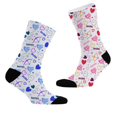- Aşk Oku İsme Özel 2'li Çorap Seti
