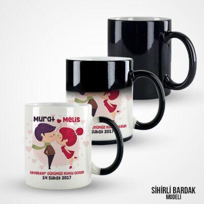 Aşk Öpücüğü Kupa Bardak - Thumbnail