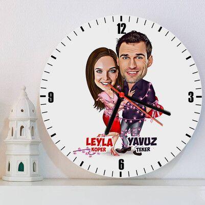 - Aşk Sarhoşu Karikatürlü Duvar Saati