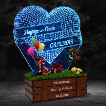 - Aşk Temalı 3D LED Lamba Minyatür Bahçe
