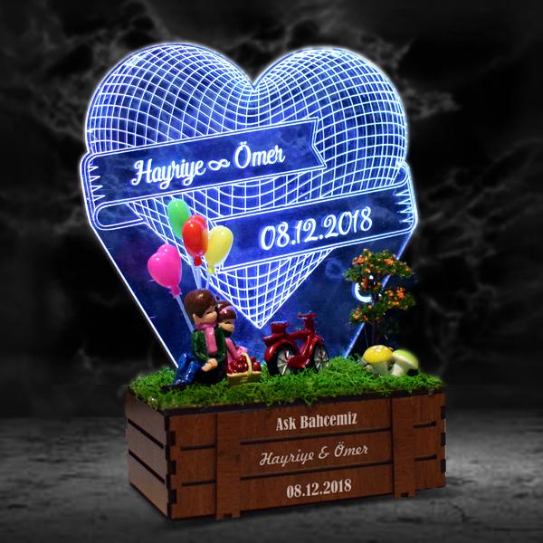 Aşk Temalı 3D LED Lamba Minyatür Bahçe
