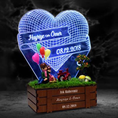 Aşk Temalı 3D LED Lamba Minyatür Bahçe - Thumbnail