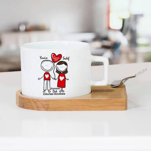 Aşka Kanatlanalım Lüks Çay Fincanı