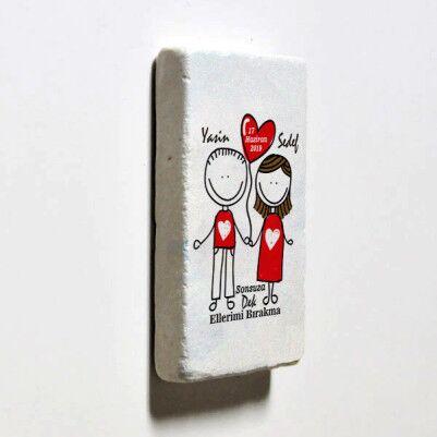 Aşka Kanatlanalım Taş Buzdolabı Magneti - Thumbnail