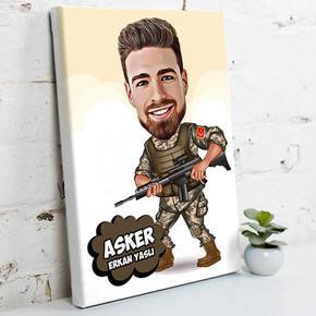 - Asker İçin Karikatürlü Kanvas Tablo