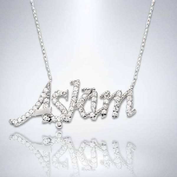 Aşkım Yazılı Gümüş Kolye