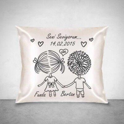 Aşkım Seni Çok Seviyorum Kare Yastık - Thumbnail