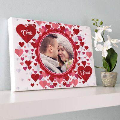 - Aşkımızın Kırmızı Tonu Kanvas Tablo